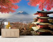 Mt. Fuji with Autumn Colours mural wallpaper living room preview