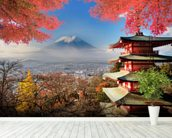 Mt. Fuji with Autumn Colours mural wallpaper in-room view