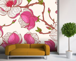 Pink Magnolias Wall Mural Wallpaper Wall Murals Wallpaper