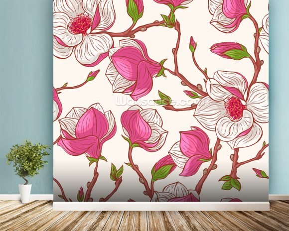 Pink Magnolias wallpaper mural room setting