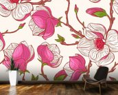 Pink Magnolias wallpaper mural kitchen preview