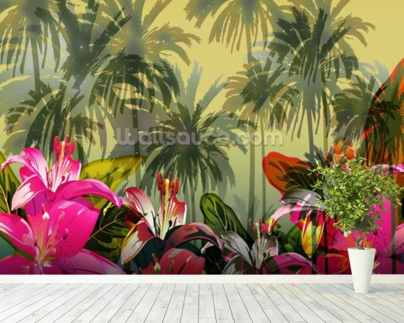 Tropical Lilly Scene mural wallpaper room setting