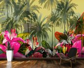 Tropical Lilly Scene mural wallpaper kitchen preview