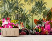 Tropical Lilly Scene mural wallpaper living room preview