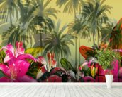 Tropical Lilly Scene mural wallpaper in-room view