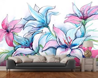 Lily Flowers wallpaper mural
