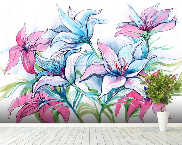 Lily Flowers wallpaper mural room setting