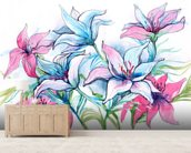 Lily Flowers wallpaper mural living room preview