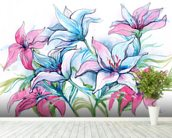 Lily Flowers wallpaper mural in-room view