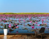 Sea of Pink Lotus 2 mural wallpaper kitchen preview
