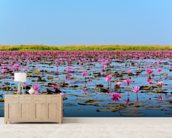 Sea of Pink Lotus 2 mural wallpaper living room preview