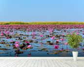 Sea of Pink Lotus 2 mural wallpaper in-room view