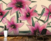 Pink Lilly wallpaper mural kitchen preview