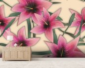 Pink Lilly wallpaper mural living room preview