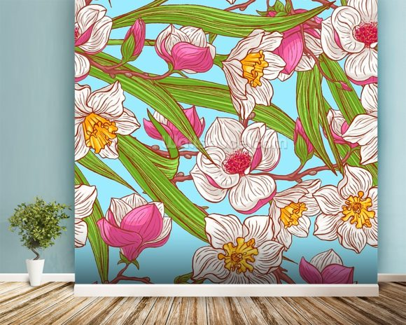 Magnolias and Narcissus wallpaper mural room setting