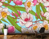Magnolias and Narcissus wallpaper mural kitchen preview