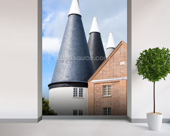 Oast Houses Kent mural wallpaper room setting
