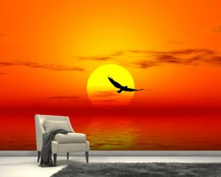 Red Sunset Wall Mural Wall Murals Wallpaper