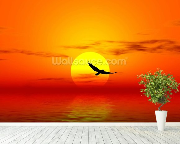 Red Sunset wallpaper mural room setting