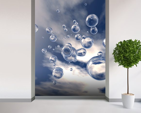 Rain wallpaper mural room setting