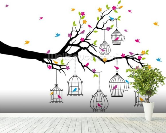 Tree with Birdcages wallpaper mural room setting