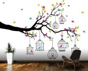 Tree with Birdcages wallpaper mural kitchen preview