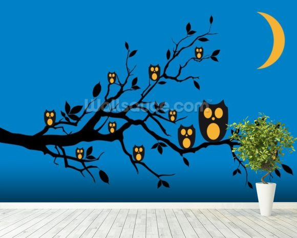 Night Owls wallpaper mural room setting