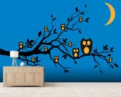 Night Owls wallpaper mural living room preview