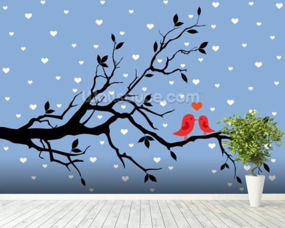 Winter Love mural wallpaper room setting
