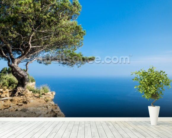 South of France Sea View mural wallpaper room setting