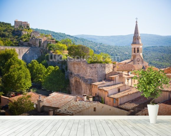 Provence - View of Saint Saturnin les d Apt mural wallpaper room setting