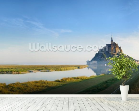 Mont Saint Michel Sunrise mural wallpaper room setting