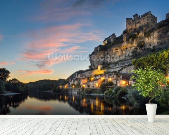 Beynac-et-Cazenac Sunset wallpaper mural room setting