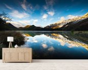 Moke Lake Sunrise wall mural living room preview