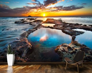 Maori Bay Rock Pools mural wallpaper