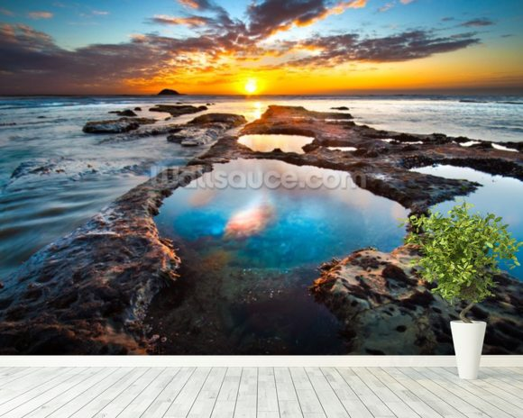 Maori Bay Rock Pools mural wallpaper room setting