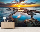 Maori Bay Rock Pools mural wallpaper living room preview