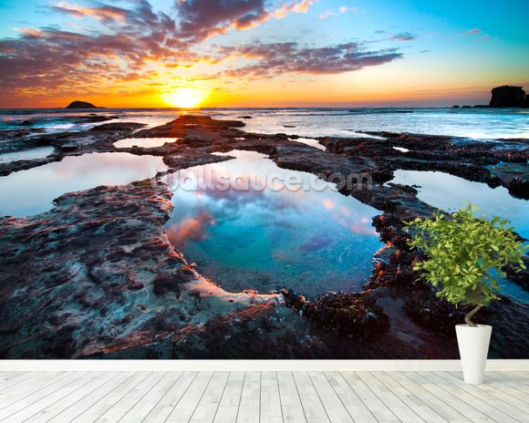 Maori Bay Sunset wall mural room setting