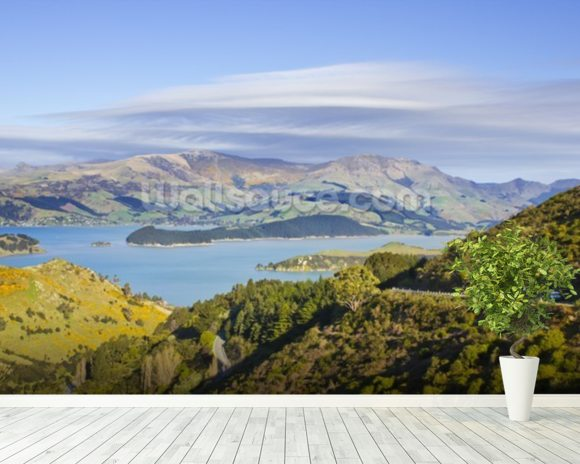 Banks Peninsula mural wallpaper room setting