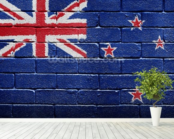 New Zealand Flag on Brick Wall wallpaper mural room setting
