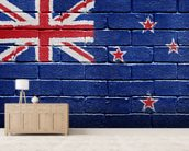 New Zealand Flag on Brick Wall wallpaper mural living room preview