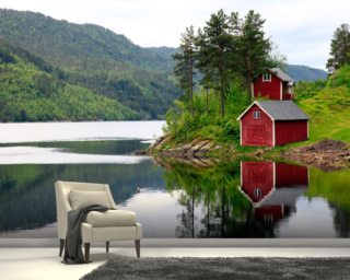 Red House on the Lake mural wallpaper