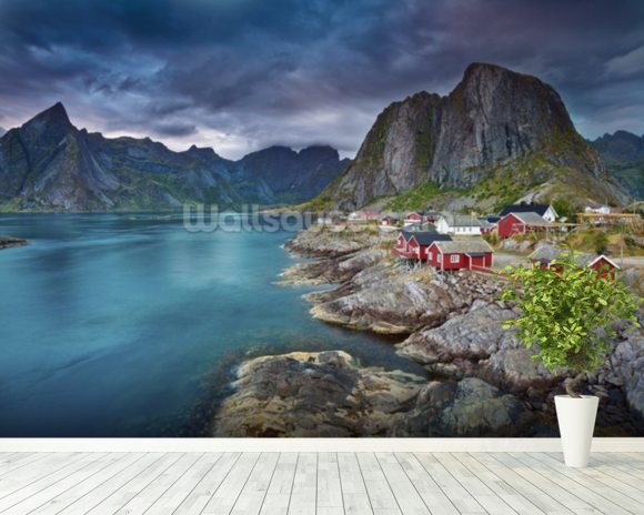 Norweigan Landscape mural wallpaper room setting