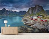 Norweigan Landscape mural wallpaper living room preview