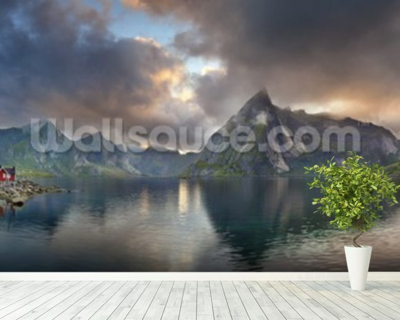 Lofoten Islands Panorama mural wallpaper room setting