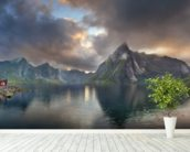 Lofoten Islands Panorama mural wallpaper in-room view