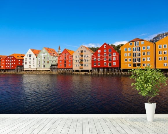 Trondheim Waterfront wallpaper mural room setting