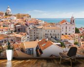 Lisbon Alfama Rooftops wallpaper mural kitchen preview