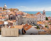 Lisbon Alfama Rooftops wallpaper mural living room preview