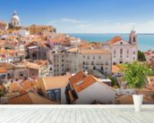 Lisbon Alfama Rooftops wallpaper mural in-room view